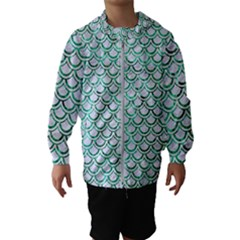 Scales2 White Marble & Green Marble (r) Hooded Windbreaker (kids)
