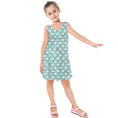 Scales2 White Marble & Green Marble (r) Kids  Sleeveless Dress