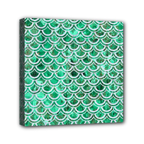 Scales2 White Marble & Green Marble Mini Canvas 6  X 6