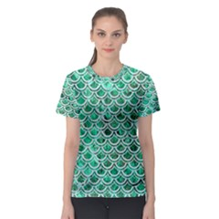 Scales2 White Marble & Green Marble Women s Sport Mesh Tee
