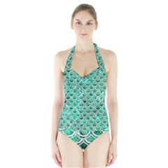 Scales2 White Marble & Green Marble Halter Swimsuit