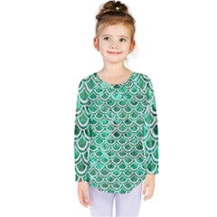 Scales2 White Marble & Green Marble Kids  Long Sleeve Tee