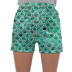 Scales2 White Marble & Green Marble Sleepwear Shorts