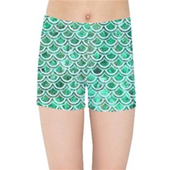Scales2 White Marble & Green Marble Kids Sports Shorts