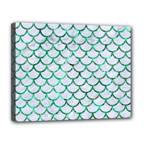 Scales1 White Marble & Green Marble (r) Canvas 14  X 11