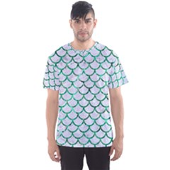 Scales1 White Marble & Green Marble (r) Men s Sports Mesh Tee