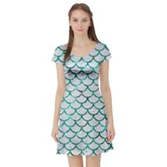 Scales1 White Marble & Green Marble (r) Short Sleeve Skater Dress