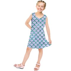 Scales1 White Marble & Green Marble (r) Kids  Tunic Dress