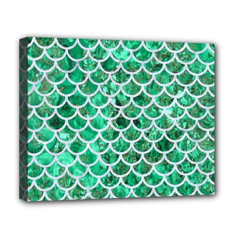 Scales1 White Marble & Green Marble Deluxe Canvas 20  X 16