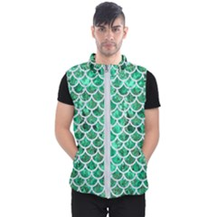 Scales1 White Marble & Green Marble Men s Puffer Vest
