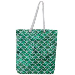 Scales1 White Marble & Green Marble Full Print Rope Handle Tote (large)