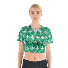 Royal1 White Marble & Green Marble (r) Cotton Crop Top