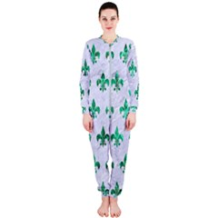 Royal1 White Marble & Green Marble Onepiece Jumpsuit (ladies)
