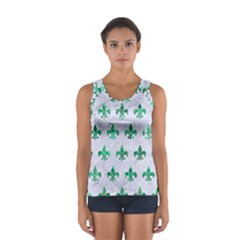 Royal1 White Marble & Green Marble Sport Tank Top