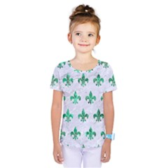 Royal1 White Marble & Green Marble Kids  One Piece Tee