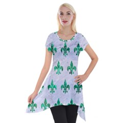 Royal1 White Marble & Green Marble Short Sleeve Side Drop Tunic