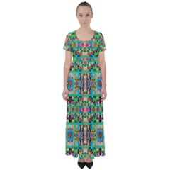 H 8 High Waist Short Sleeve Maxi Dress