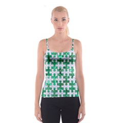 Puzzle1 White Marble & Green Marble Spaghetti Strap Top
