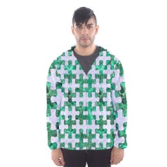 Puzzle1 White Marble & Green Marble Hooded Windbreaker (men)