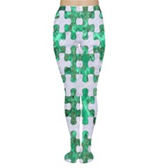 Puzzle1 White Marble & Green Marble Women s Tights