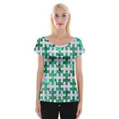 Puzzle1 White Marble & Green Marble Cap Sleeve Tops