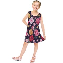 Colorful Roses Kids  Tunic Dress