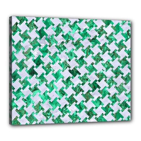Houndstooth2 White Marble & Green Marble Canvas 24  X 20