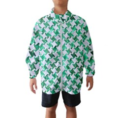 Houndstooth2 White Marble & Green Marble Windbreaker (kids)