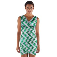 Houndstooth2 White Marble & Green Marble Wrap Front Bodycon Dress