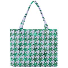 Houndstooth1 White Marble & Green Marble Mini Tote Bag