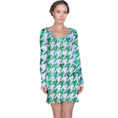 Houndstooth1 White Marble & Green Marble Long Sleeve Nightdress
