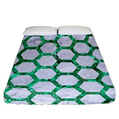 Hexagon2 White Marble & Green Marble (r) Fitted Sheet (california King Size)
