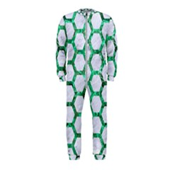 Hexagon2 White Marble & Green Marble (r) Onepiece Jumpsuit (kids)