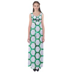 Hexagon2 White Marble & Green Marble (r) Empire Waist Maxi Dress