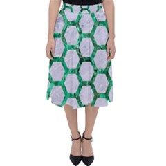 Hexagon2 White Marble & Green Marble (r) Folding Skater Skirt