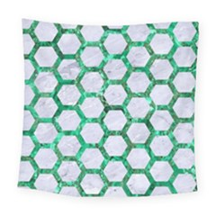Hexagon2 White Marble & Green Marble (r) Square Tapestry (large)