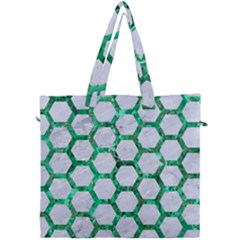 Hexagon2 White Marble & Green Marble (r) Canvas Travel Bag by trendistuff