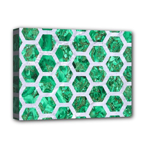 Hexagon2 White Marble & Green Marble Deluxe Canvas 16  X 12