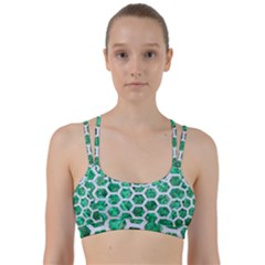 Hexagon2 White Marble & Green Marble Line Them Up Sports Bra