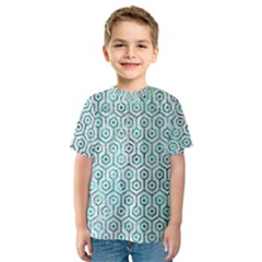 Hexagon1 White Marble & Green Marble (r) Kids  Sport Mesh Tee