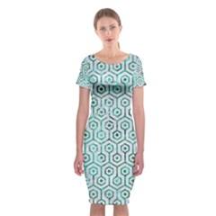Hexagon1 White Marble & Green Marble (r) Classic Short Sleeve Midi Dress
