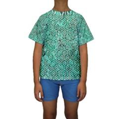 Hexagon1 White Marble & Green Marble Kids  Short Sleeve Swimwear