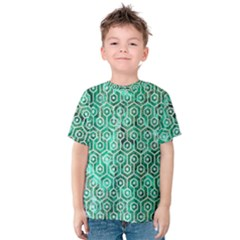 Hexagon1 White Marble & Green Marble Kids  Cotton Tee