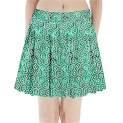 Hexagon1 White Marble & Green Marble Pleated Mini Skirt