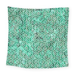 Hexagon1 White Marble & Green Marble Square Tapestry (large)