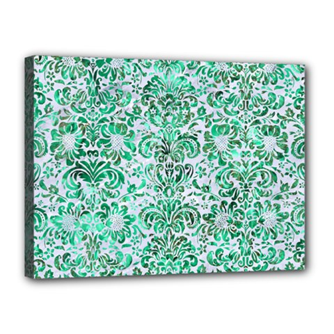 Damask2 White Marble & Green Marble (r) Canvas 16  X 12