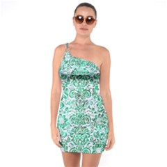 Damask2 White Marble & Green Marble (r) One Soulder Bodycon Dress
