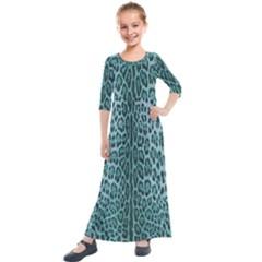 Turquoise Leopard Kids  Quarter Sleeve Maxi Dress