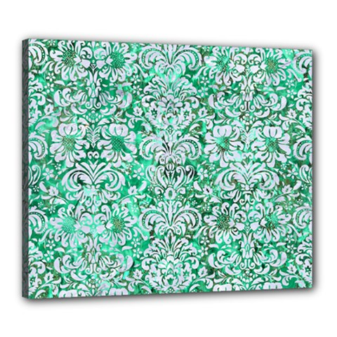 Damask2 White Marble & Green Marble Canvas 24  X 20