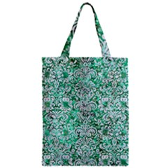 Damask2 White Marble & Green Marble Zipper Classic Tote Bag